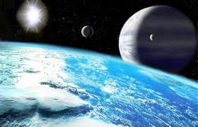 Planets above a blue planet